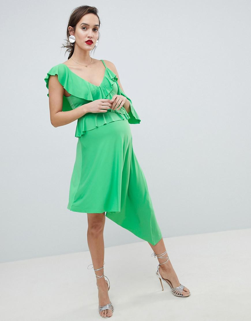 DESIGN asymmetric ruffle soft midi dress - Green Asos hBQ1jN
