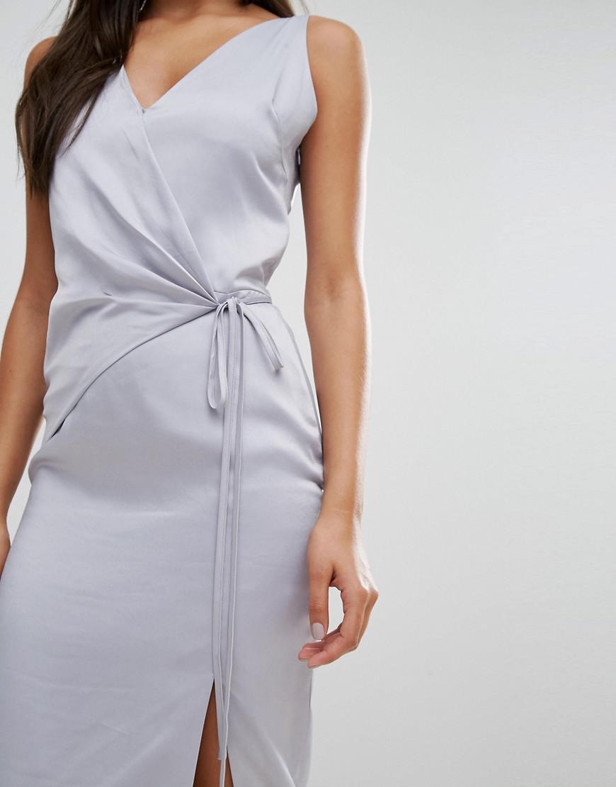 Satin Wrap Tie Midi Dress - Dusty blue Lavish Alice Manchester Great Sale For Sale Sale 2018 Buy Cheap Manchester Great Sale Sale Popular ptFd2vFljc