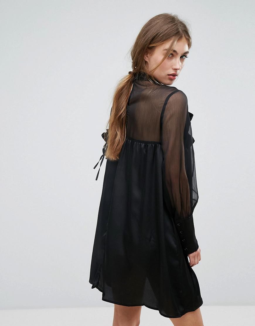 volantes Vestido malla con manga ribetes de Lost en y de negro panel transparente Lyst holgado de larga Ink 4qxv4ZwF