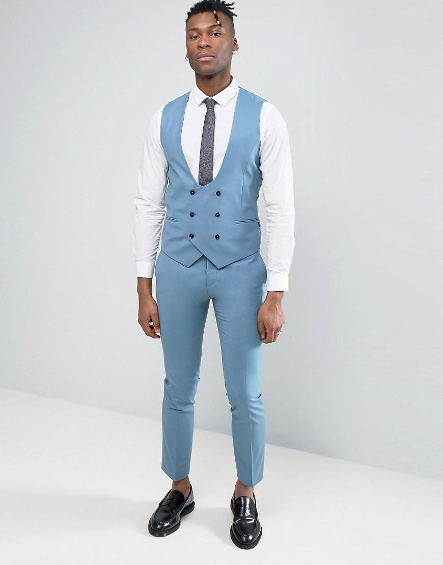 Lyst - Noose And Monkey Super Skinny Wedding Suit Pants in Blue for Men