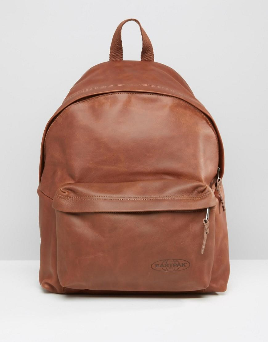 Leather Eastpak Backpack: Eastpak Padded Pak'r Leather Backpack In Brown In