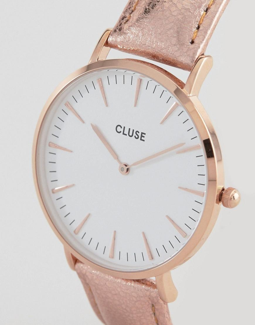 lyst cluse la boheme rose gold metallic leather watch. Black Bedroom Furniture Sets. Home Design Ideas