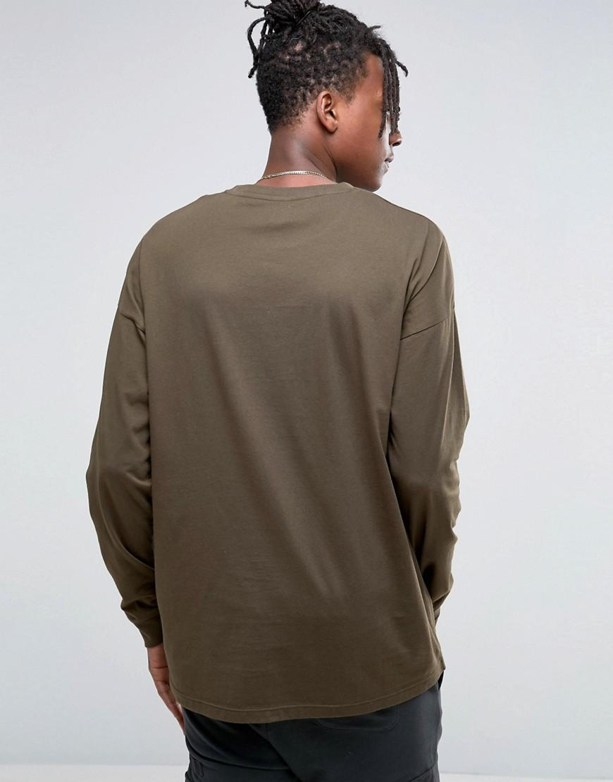 lyst asos oversized long sleeve t shirt in green for men. Black Bedroom Furniture Sets. Home Design Ideas