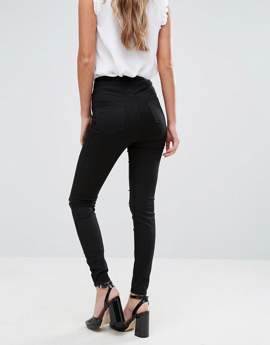 lyst new look double slash skinny jeans in black. Black Bedroom Furniture Sets. Home Design Ideas