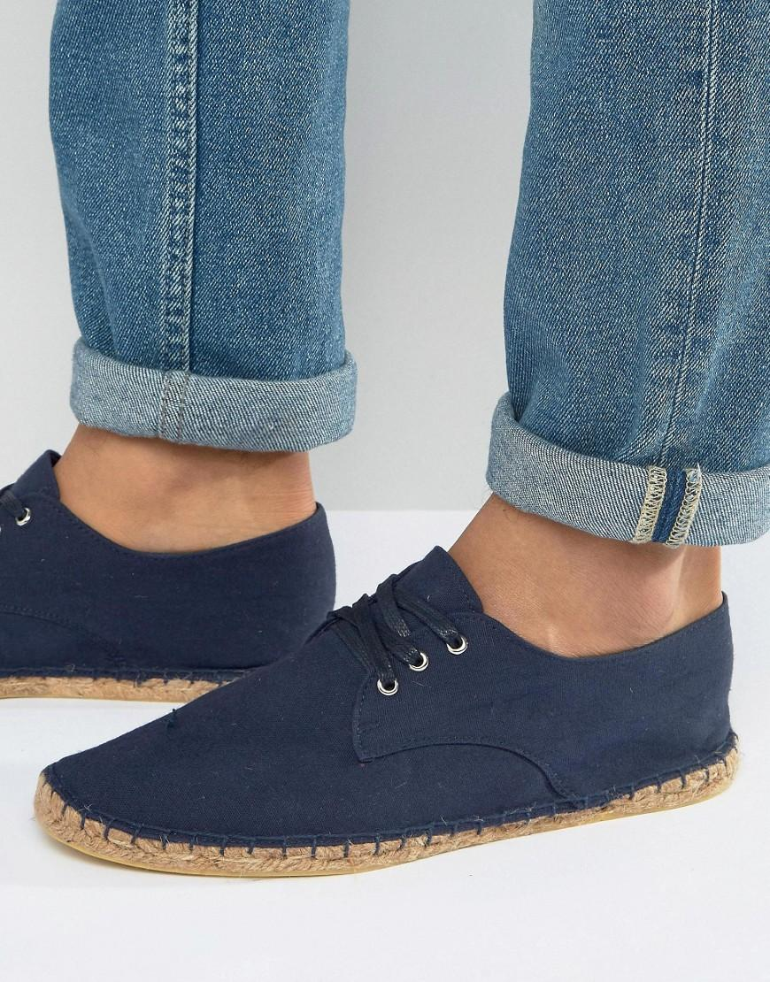asos derby espadrilles in navy canvas in blue for men lyst. Black Bedroom Furniture Sets. Home Design Ideas