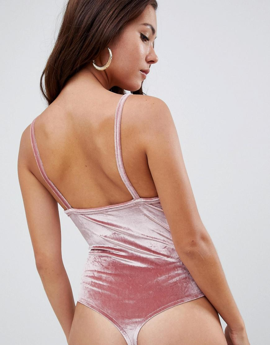 26ff95410fc01 ASOS Cami Body With Cup Detail In Velvet in Pink - Lyst
