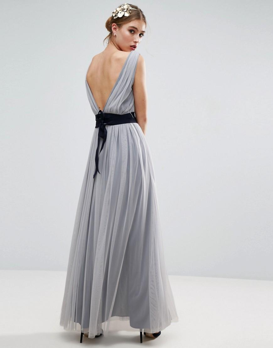 Asos wedding mesh maxi dress with navy ribbon strapping for Wedding dress with blue detail
