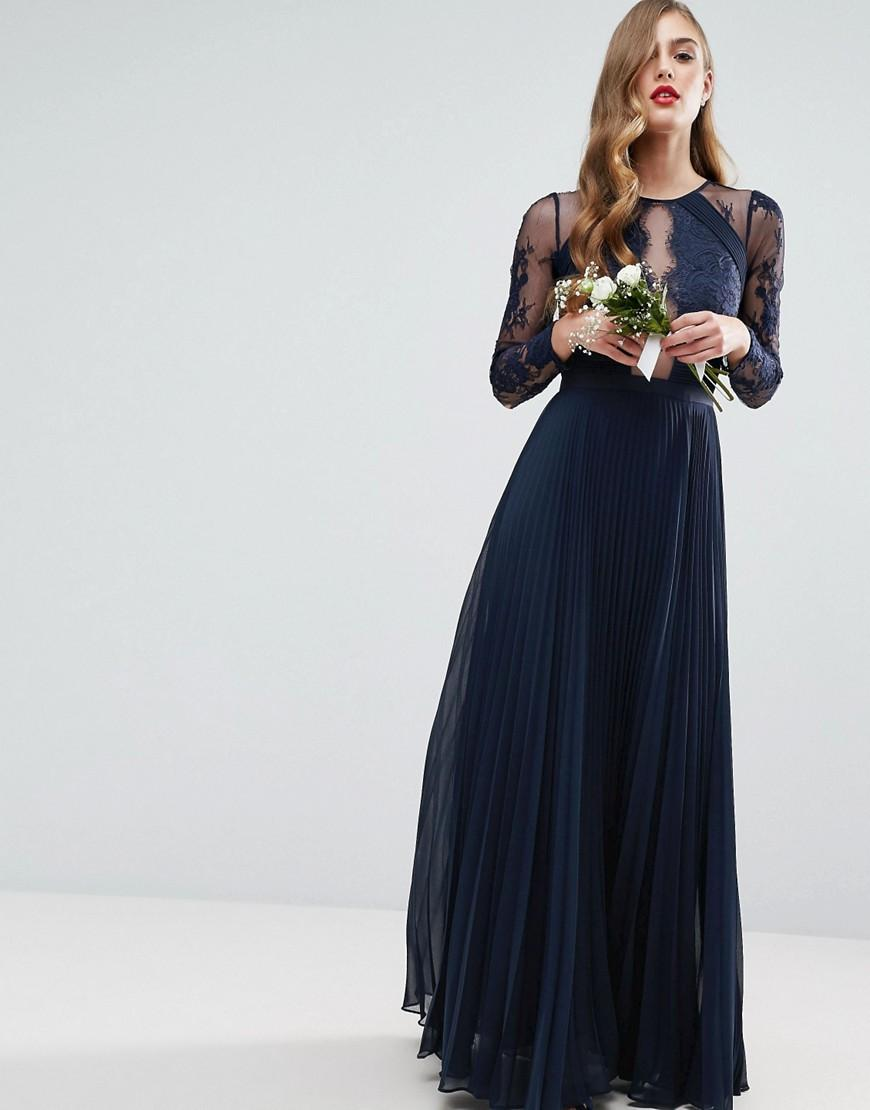 f17e8143bad2 Lyst - ASOS Wedding Pretty Lace Eyelash Pleated Maxi Dress .