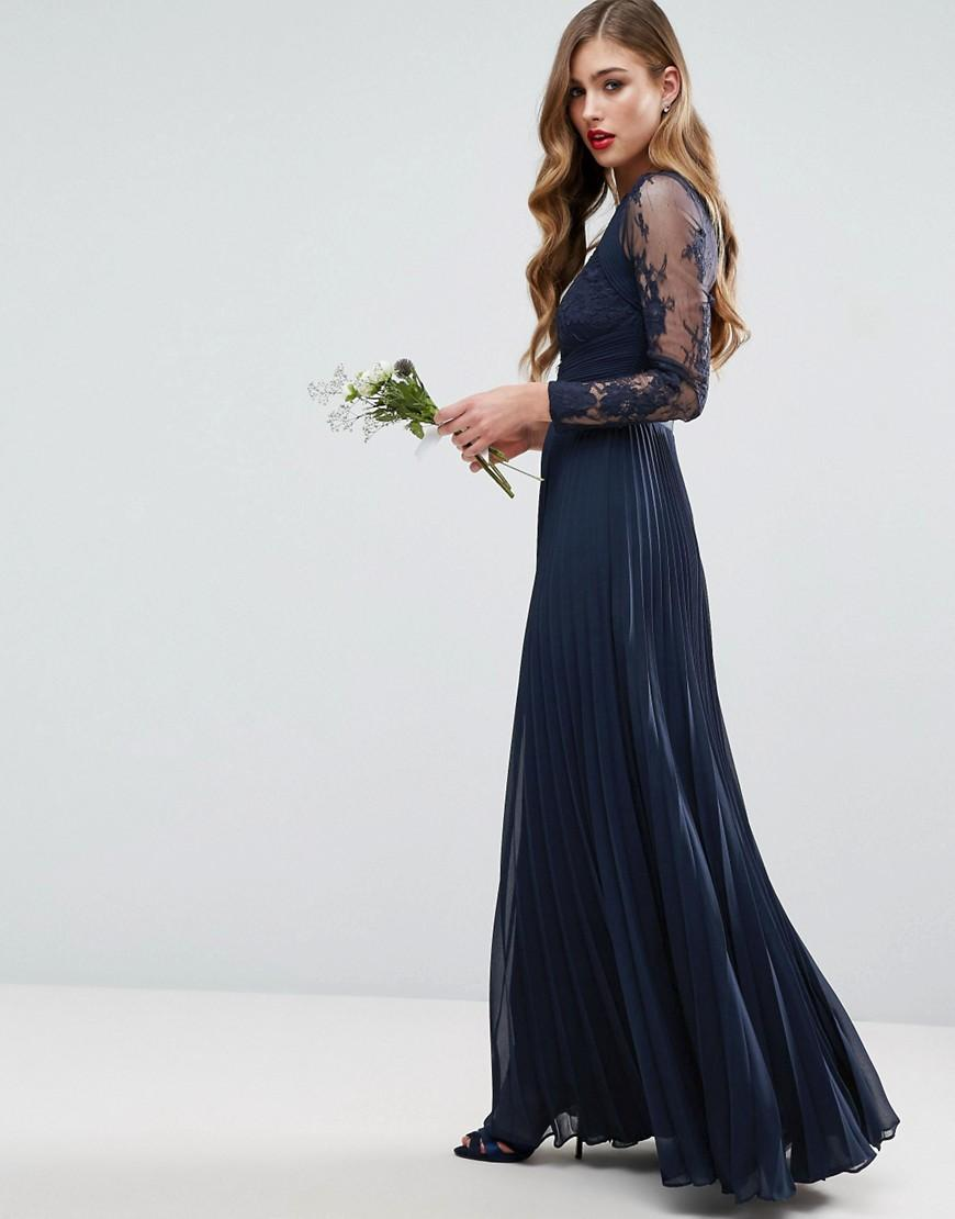 a51c1ae7de1f Asos Wedding Pretty Lace Eyelash Pleated Maxi Dress in .