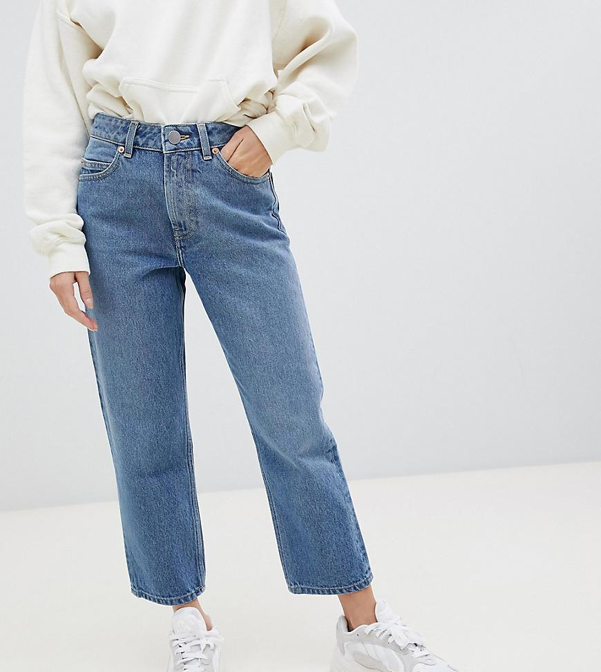 d95a84624cdc7 Women's Asos Design Petite Recycled Florence Authentic Straight Leg Jeans  In Mid Vintage Blue