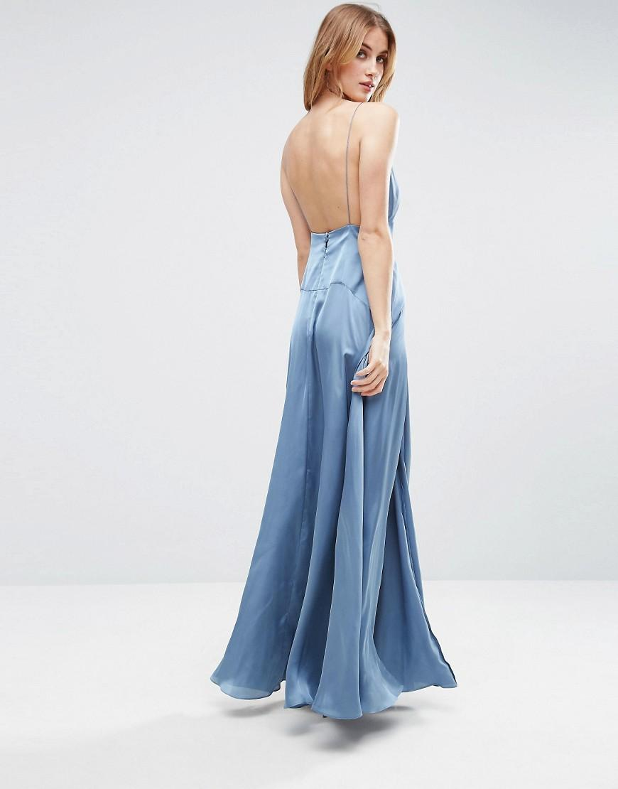 Asos Cami Panelled Thigh Split Maxi Dress In Blue Lyst