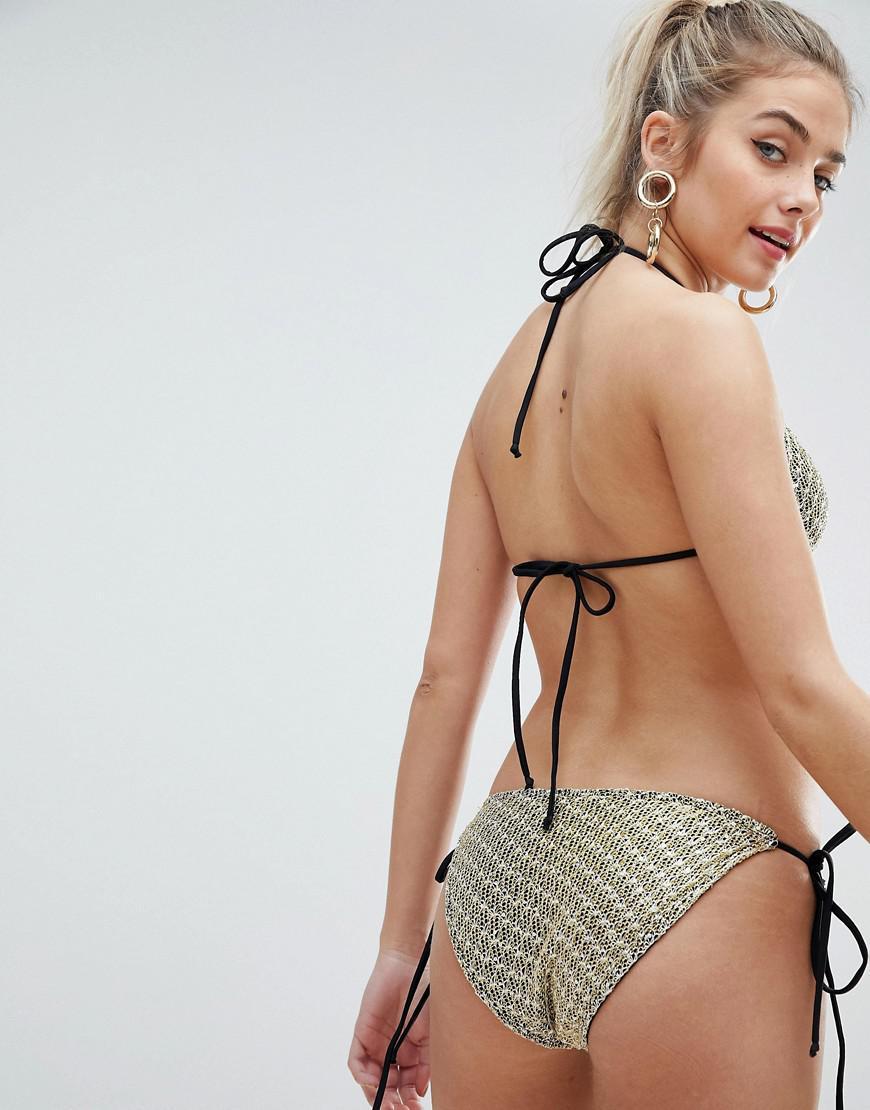 c94c9a6768 Lyst - ASOS Metallic Weave Chain Mail Effect Triangle Bikini Top In Gold in  Metallic