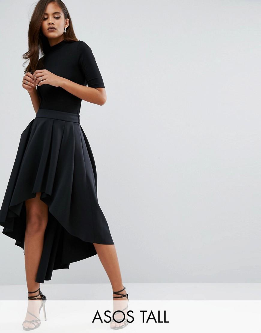b77e914ae ASOS Scuba Midi Prom Skirt With Asymmetric High-low Hem in Black - Lyst