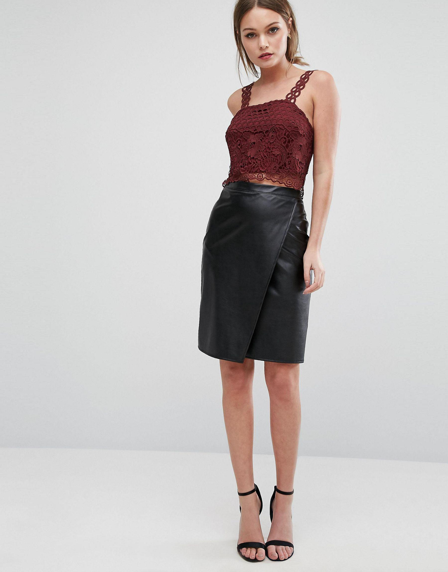 new look leather look wrap front midi skirt in black lyst