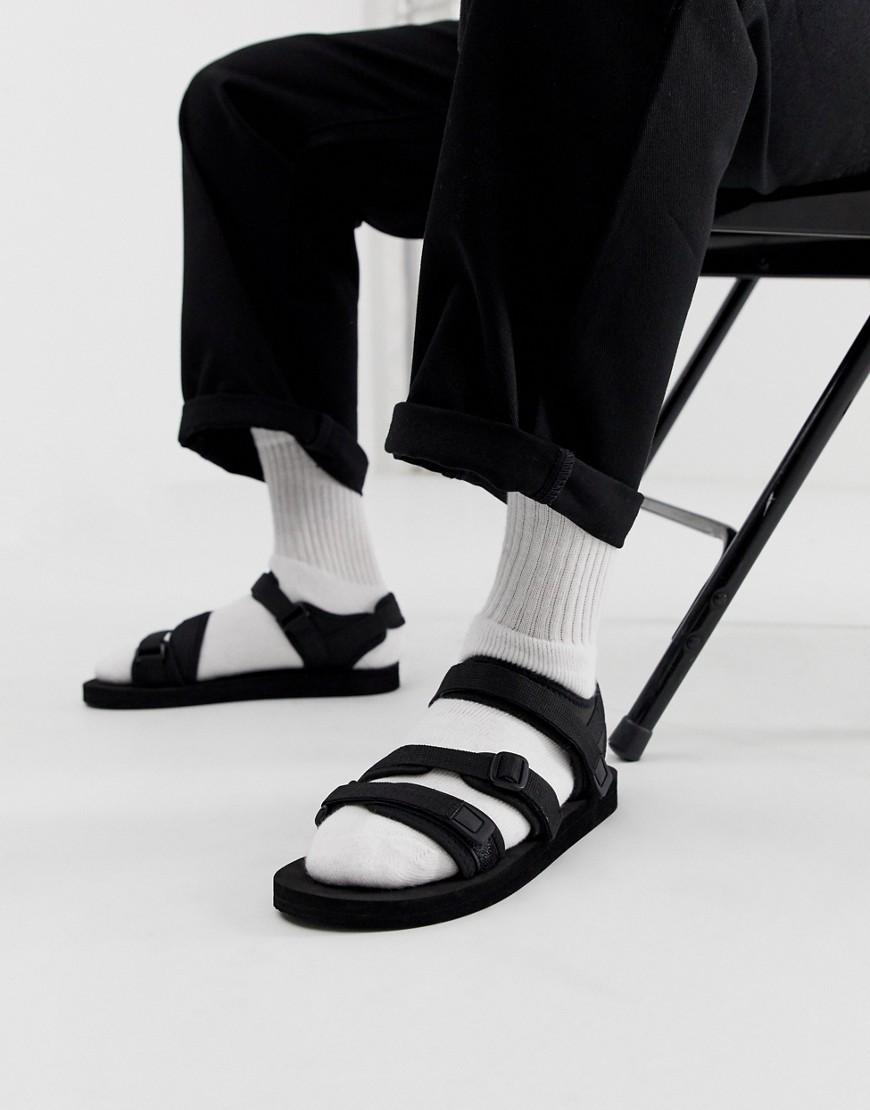 3513cc786 Lyst - ASOS Tech Sandals In Black With Tape Straps in Black for Men