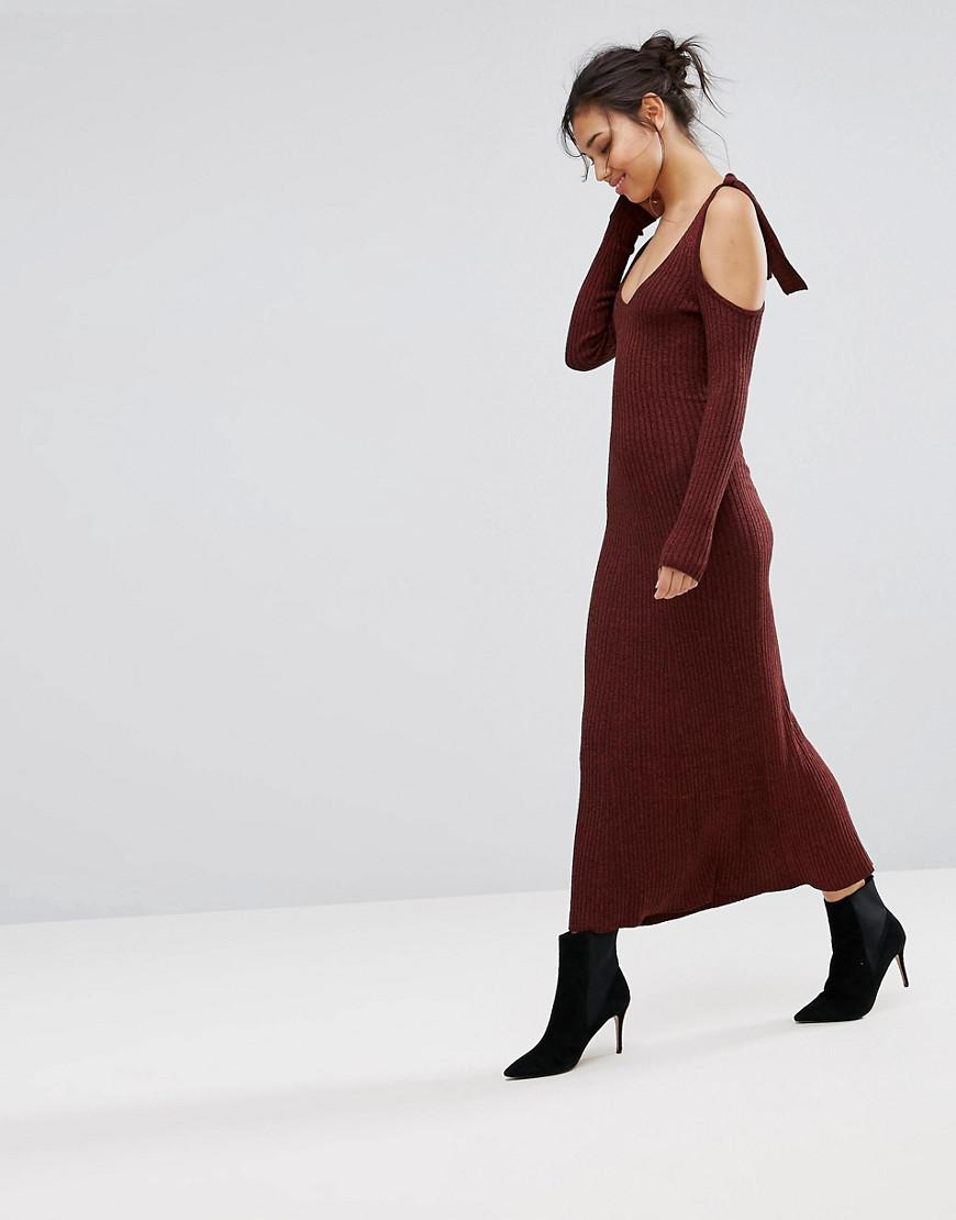 df5191dbd6b4ed Lyst - Warehouse Knitted Cold Shoulder Maxi Dress in Brown