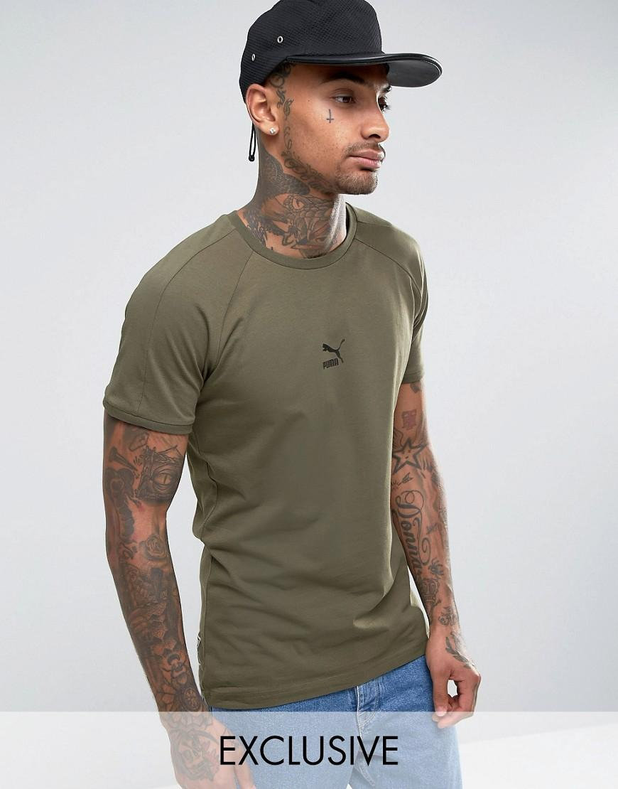 65dcae112 PUMA T7 Logo Muscle Fit T-shirt In Green 57443303 in Green for Men ...