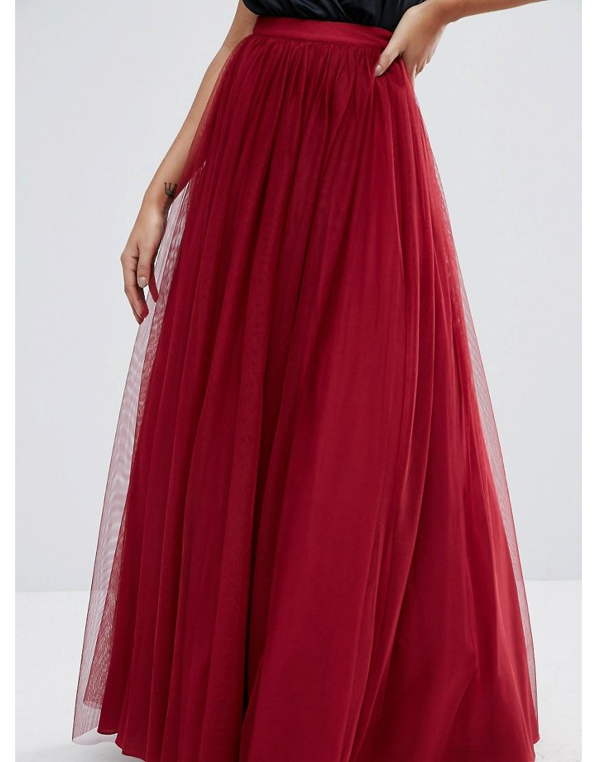a22781da2a ASOS Tulle Maxi Prom Skirt in Red - Lyst