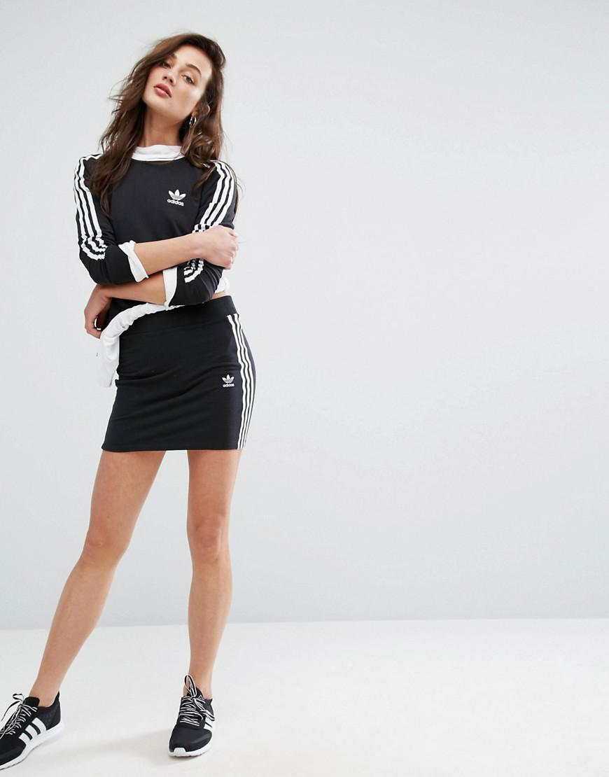 adidas Originals Womens Originals Black Three Stripe Skirt