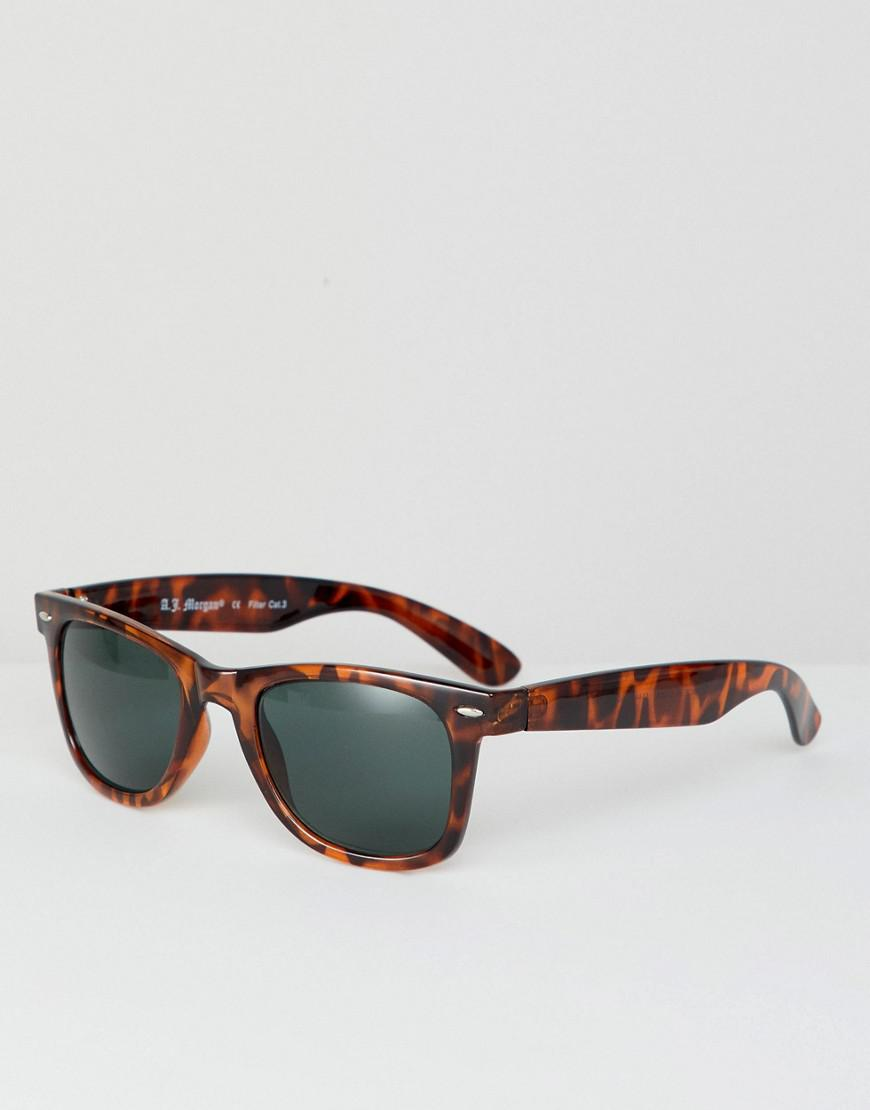 A.J. Morgan Square Frame Sunglasses In Tort in Brown for Men - Lyst