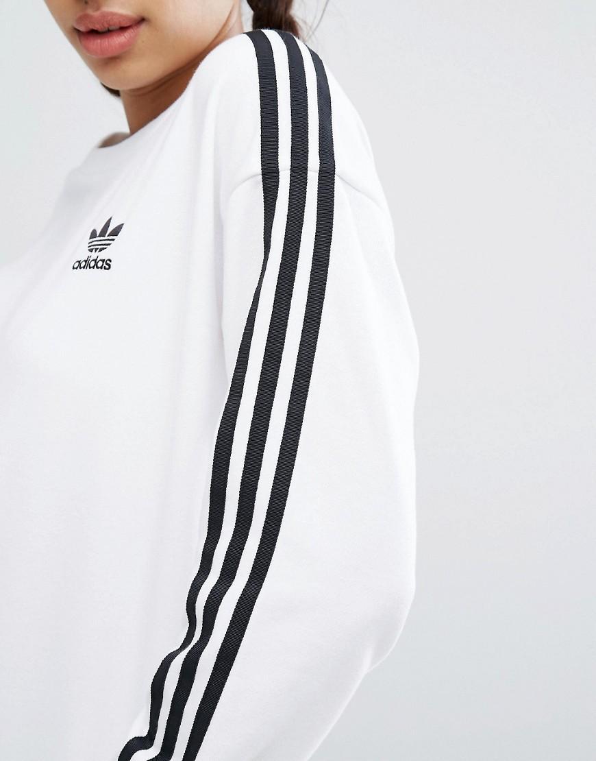 adidas originals originals white three stripe sweatshirt in white lyst. Black Bedroom Furniture Sets. Home Design Ideas