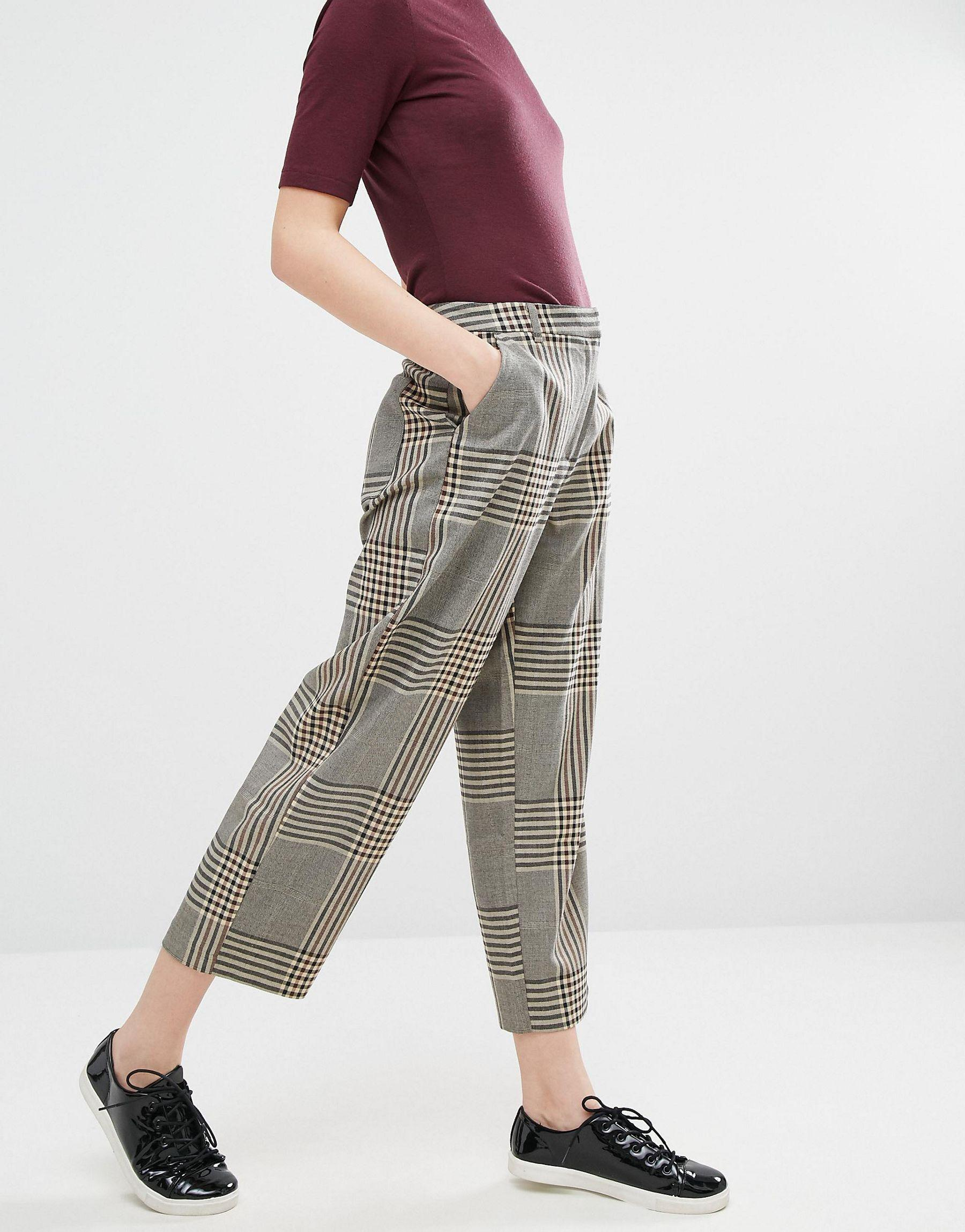 Monki wide cropped trouser lyst for Ladies brown check shirt