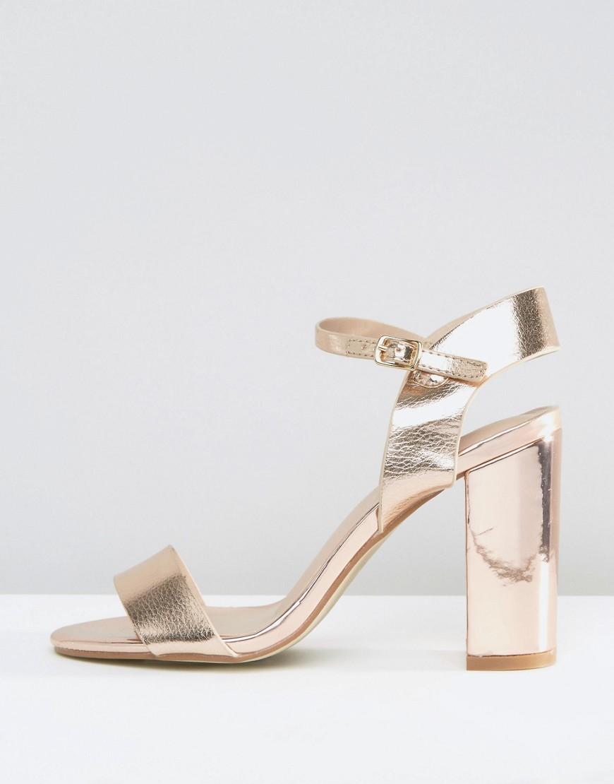 361af8d3bdc6 New Look Metallic Block High Heeled Sandals in Metallic - Lyst