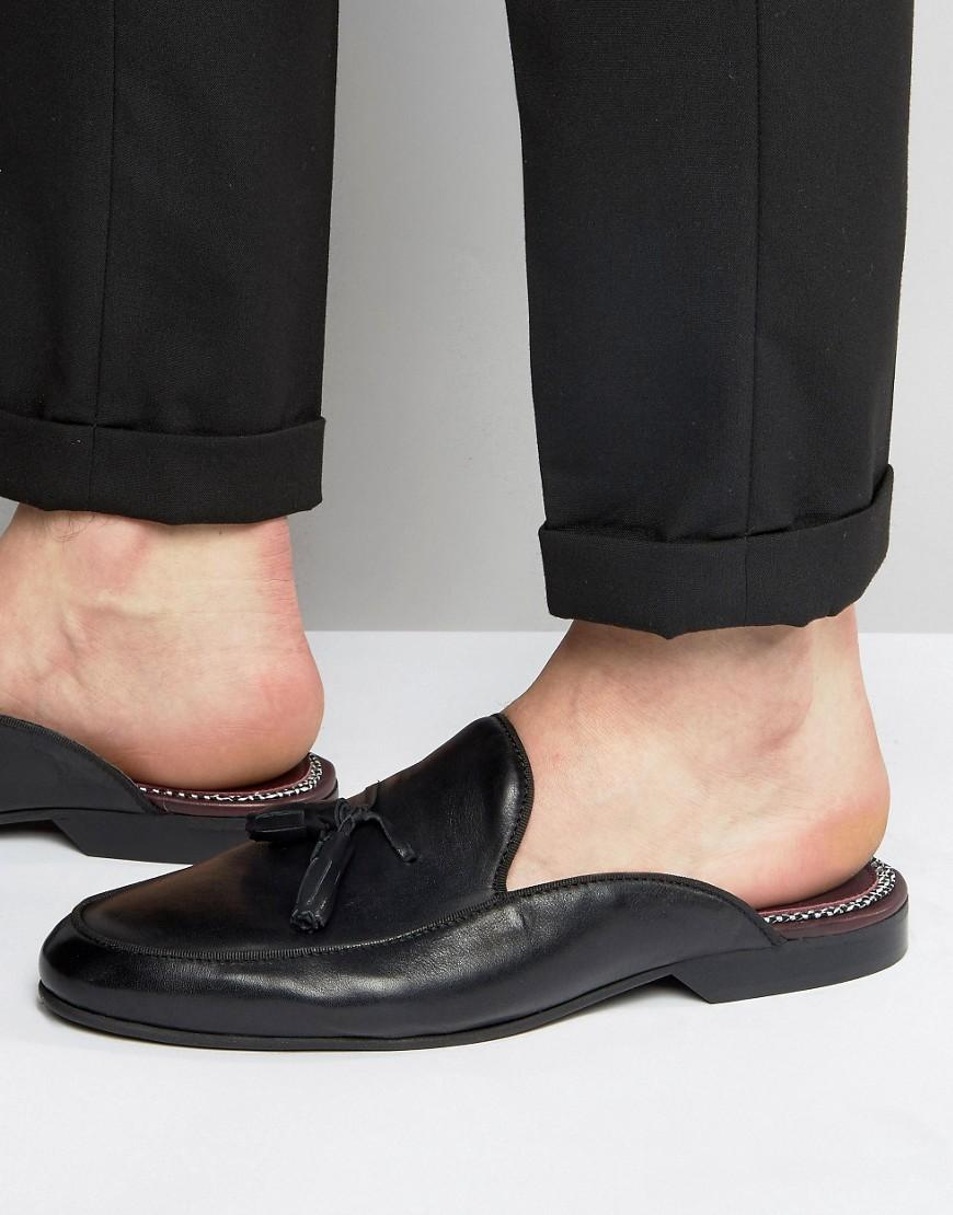 House Of Hounds Backless Leather Loafers In Black For Men