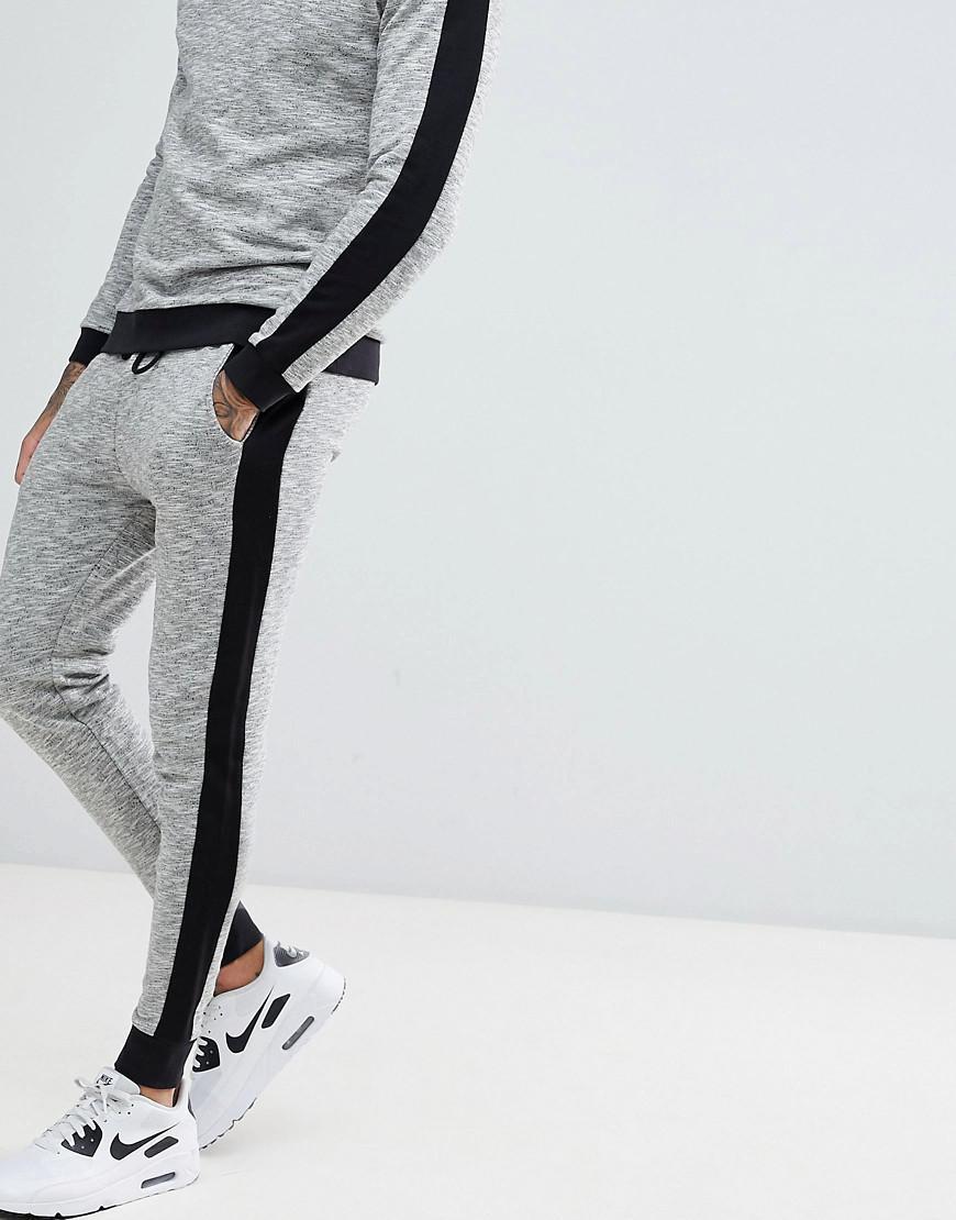 77162cb0 ASOS Design Tracksuit Sweatshirt/skinny Joggers In Fabric Interest ...