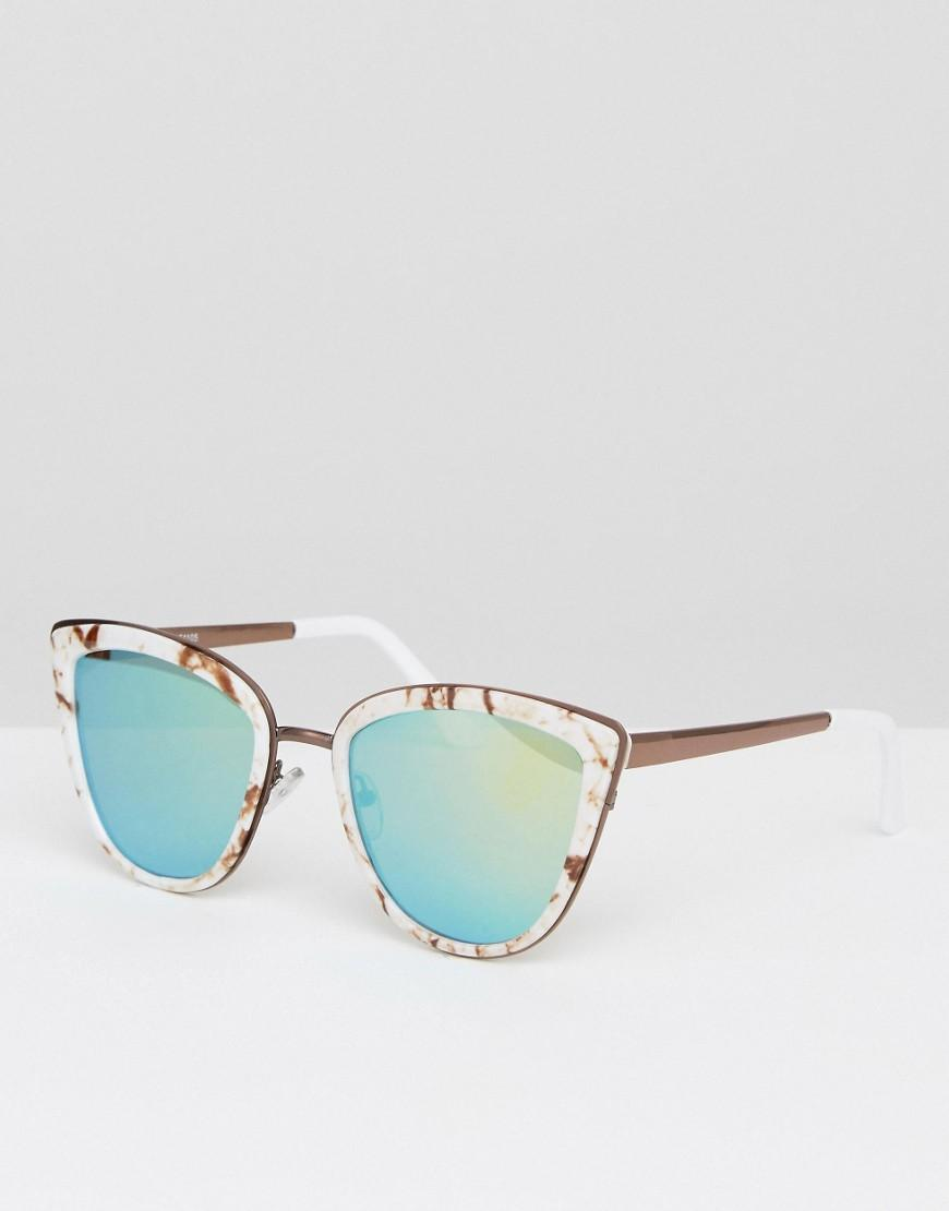 Asos Cat Eye Sunglasses With Metal Sandwich In Marble With