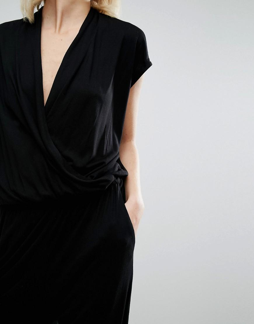 cdcb7ec5729 Lyst - SELECTED Femme Sila Wrap Jumpsuit in Black