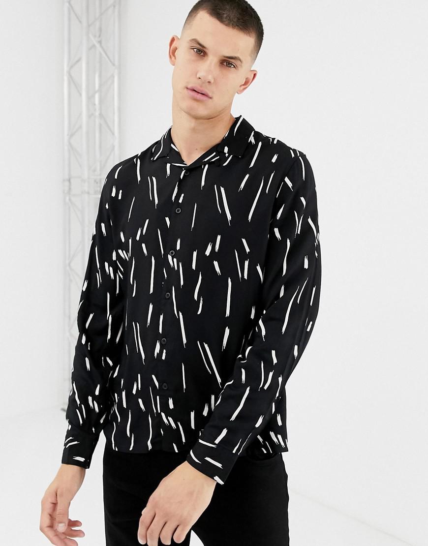 65b7dda96422 New Look Regular Fit Revere Collar Shirt In Black Print in Black for ...