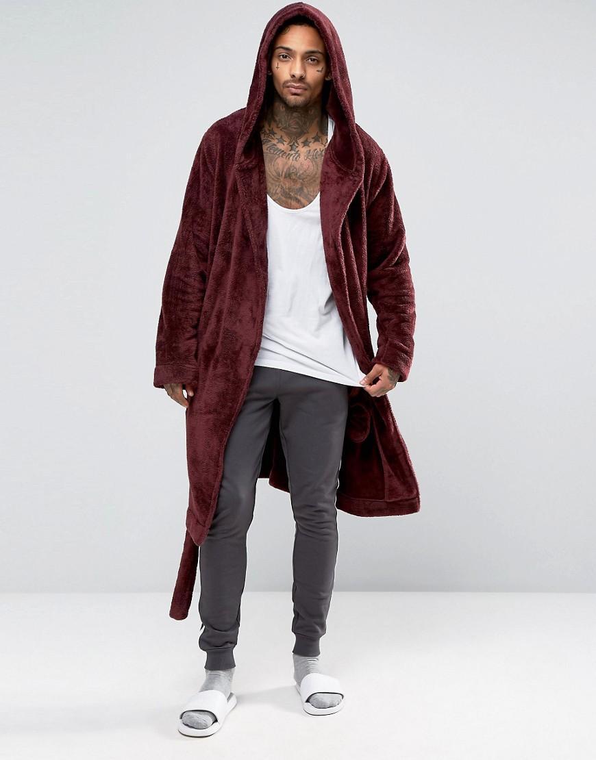 9a251e24c3 Lyst - ASOS Hooded Fleece Robe In Burgundy in Red for Men