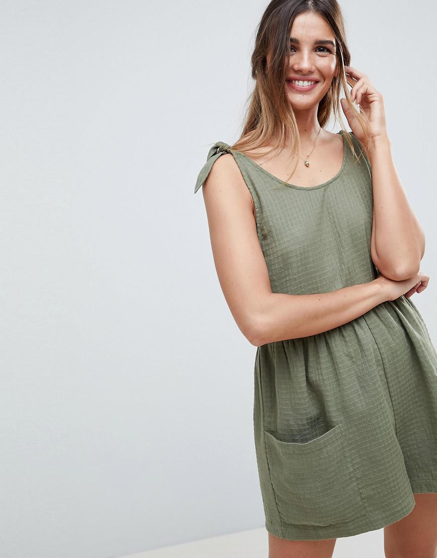 1e8265d0dc7 Lyst - ASOS Smock Playsuit With Tie Shoulder in Green