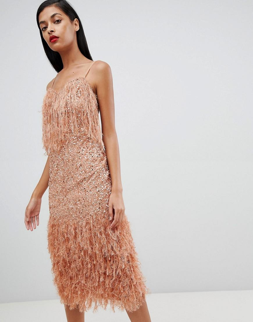 26fe925ef36d1 ASOS Faux Feather Trim Sequin Midi Dress in Pink - Lyst