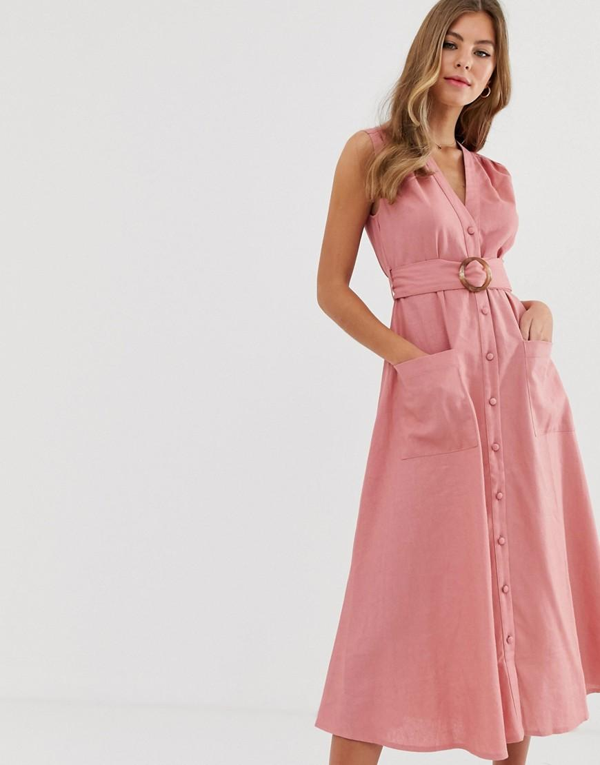 b01beac5a44c ASOS Linen Button Through Midi Dress With Belt in Pink - Lyst