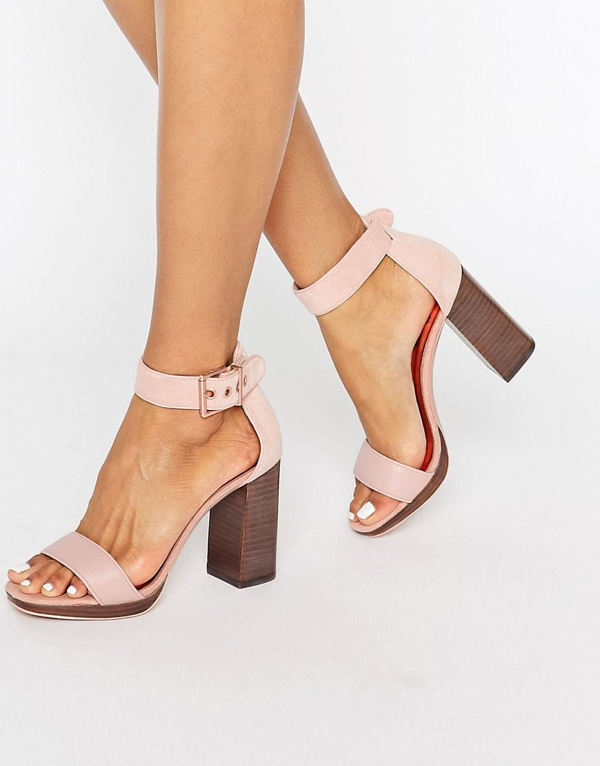 43a85c21b Ted Baker Lorno Suede Block Heeled Sandals in Pink - Lyst