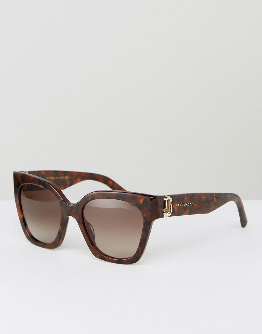 4e66f97d4cb Lyst - Marc Jacobs Logo Cat Eye Sunglasses In Tort in Brown