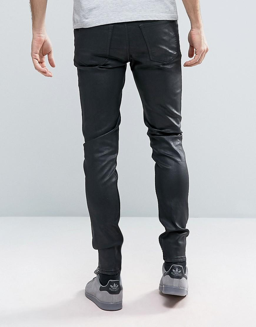 cheap monday him spray jeans coated black shine in black for men lyst. Black Bedroom Furniture Sets. Home Design Ideas