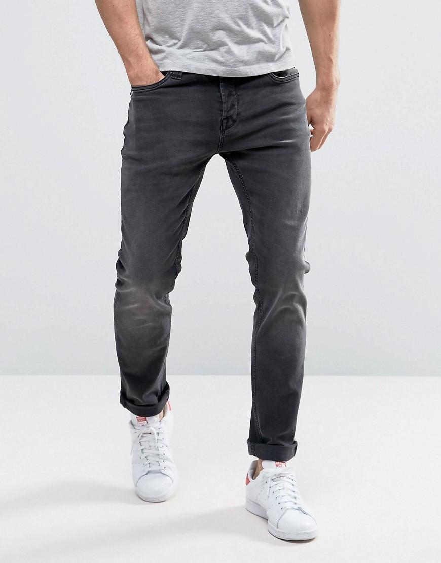 only sons slim fit stretch jeans in washed black in black for men. Black Bedroom Furniture Sets. Home Design Ideas