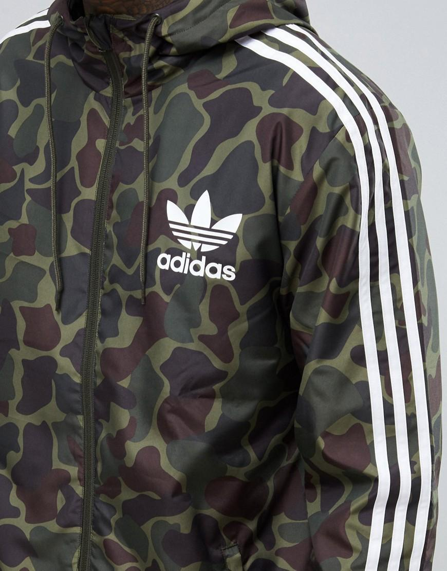 lyst adidas originals windbreaker jacket in camo bj9997. Black Bedroom Furniture Sets. Home Design Ideas