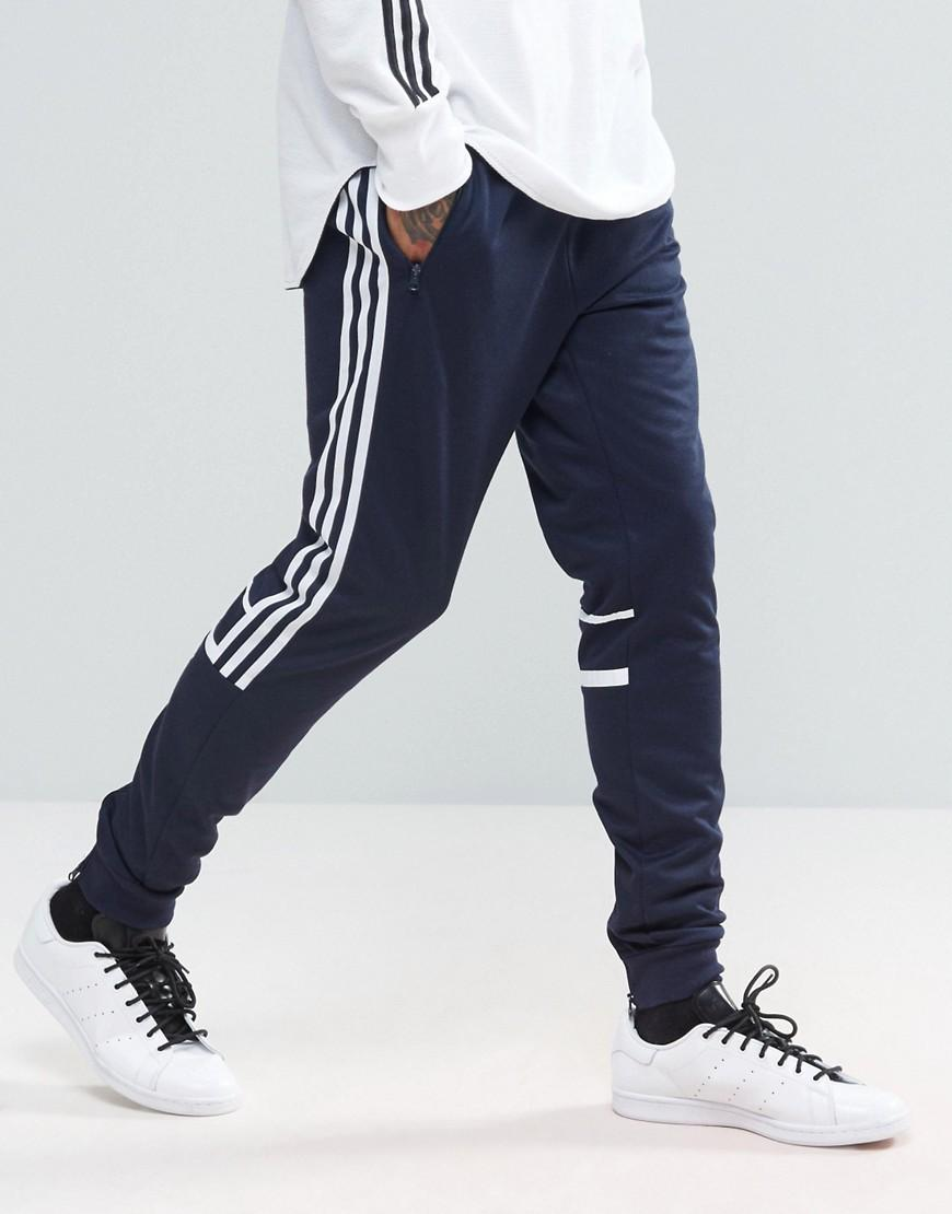 Adidas Originals Clr84 Slim Joggers In Navy Bk5928 In Blue