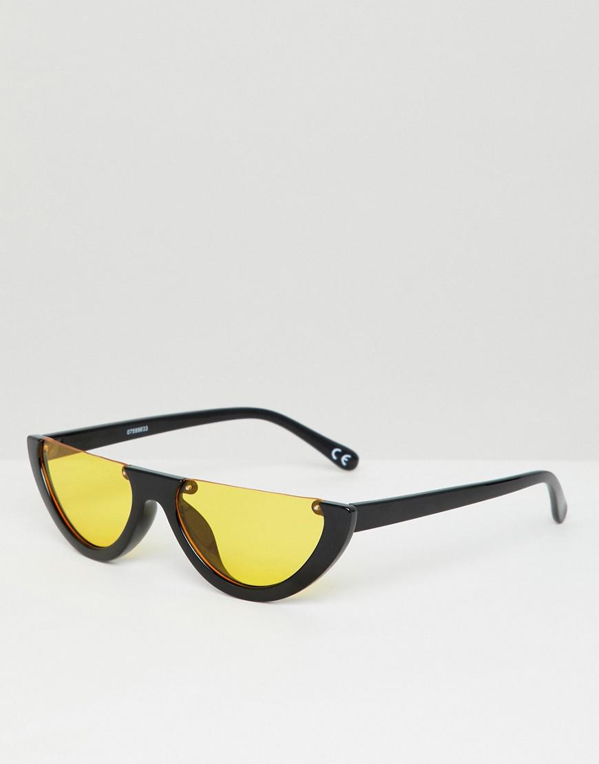 ce0ed83d16 Lyst - ASOS Flat Brow Oval Sunglasses With Orange Lens in Black for Men