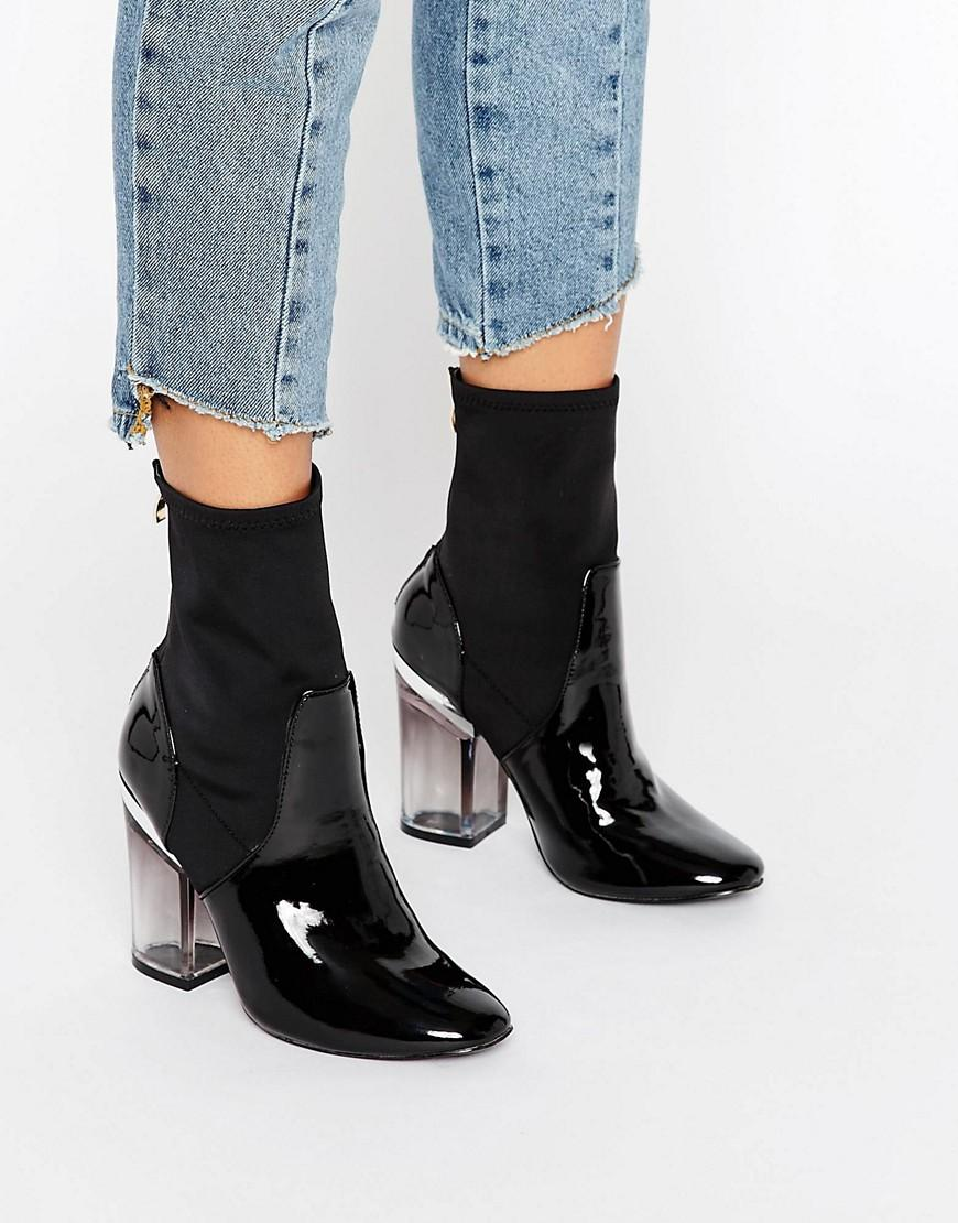 9b93910470cc Lyst - Truffle Collection Clear Heel Boot in Black