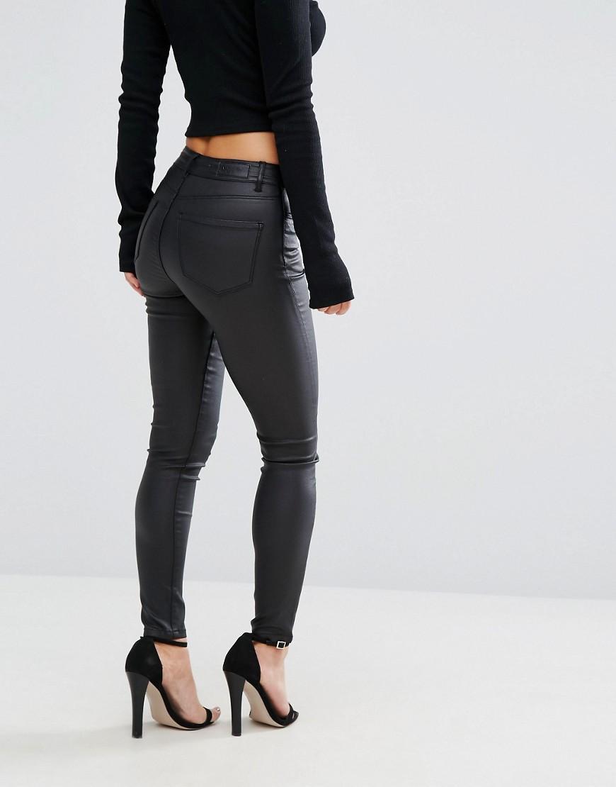 vero moda coated skinny jeans in black lyst. Black Bedroom Furniture Sets. Home Design Ideas