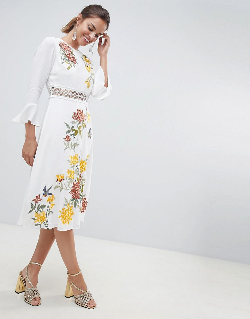 a38a6502023 ASOS Premium Embroidered Midi Dress With Lace Inserts And Floral ...