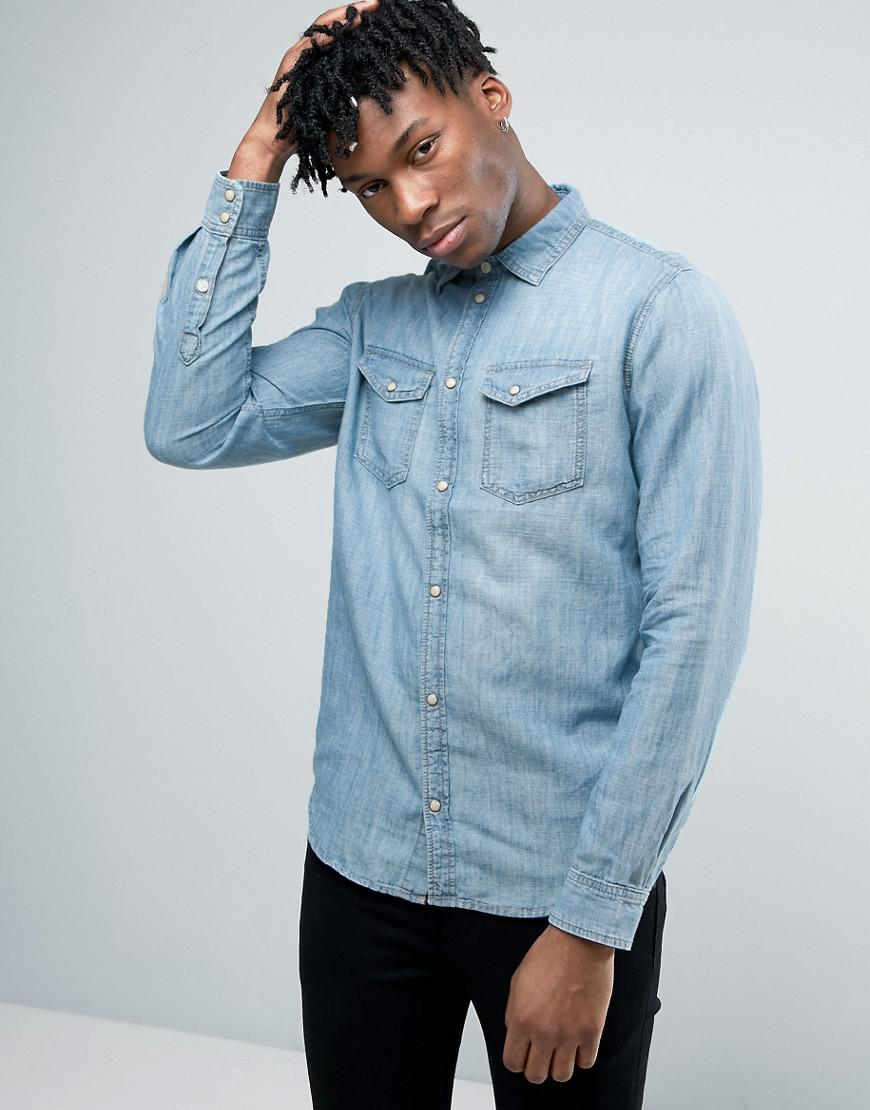 Pepe Jeans Junior Boy: Pepe Jeans Western Denim Shirt In Blue For Men