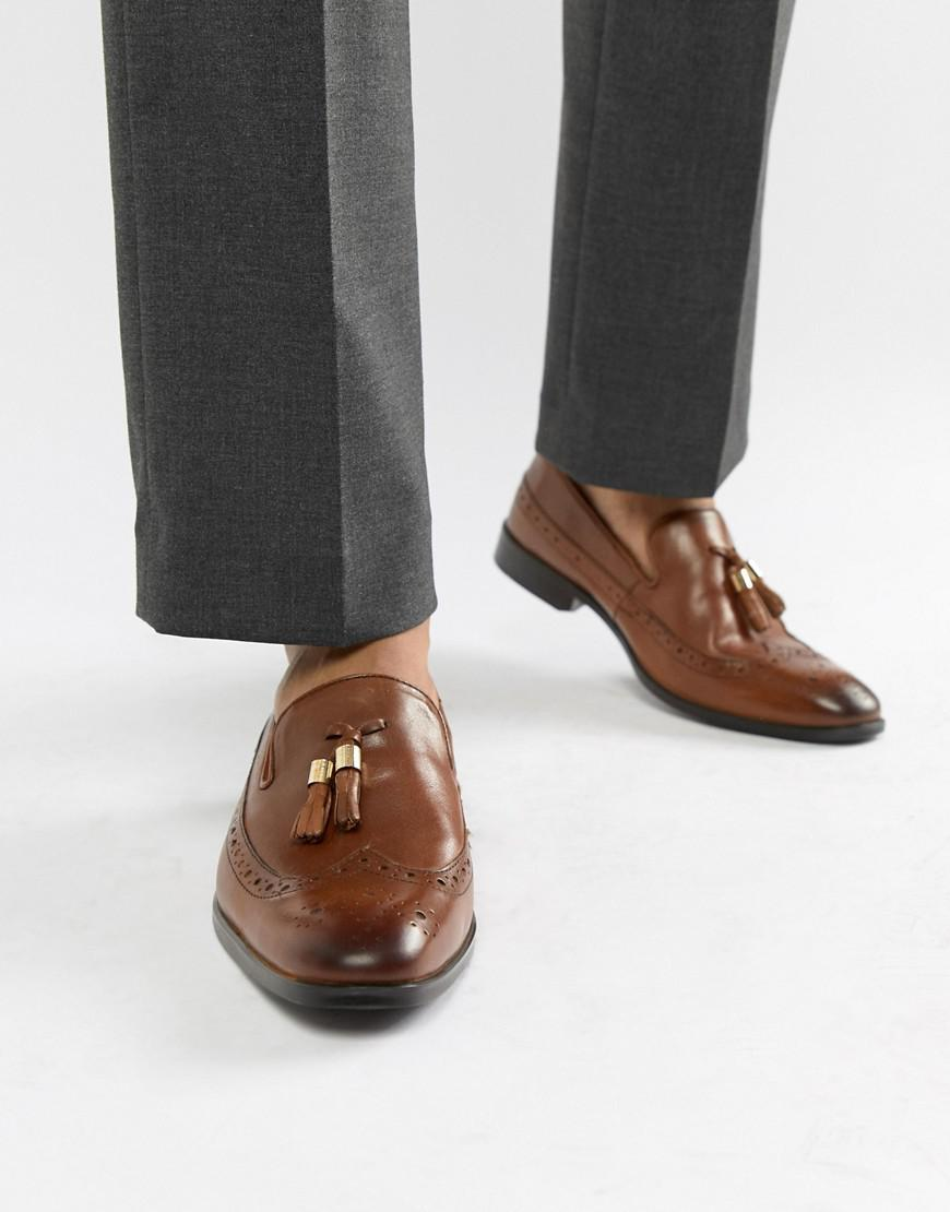 67d66635149 ASOS Wide Fit Brogue Loafers In Tan Leather With Gold Tassel Detail in Brown  for Men - Lyst