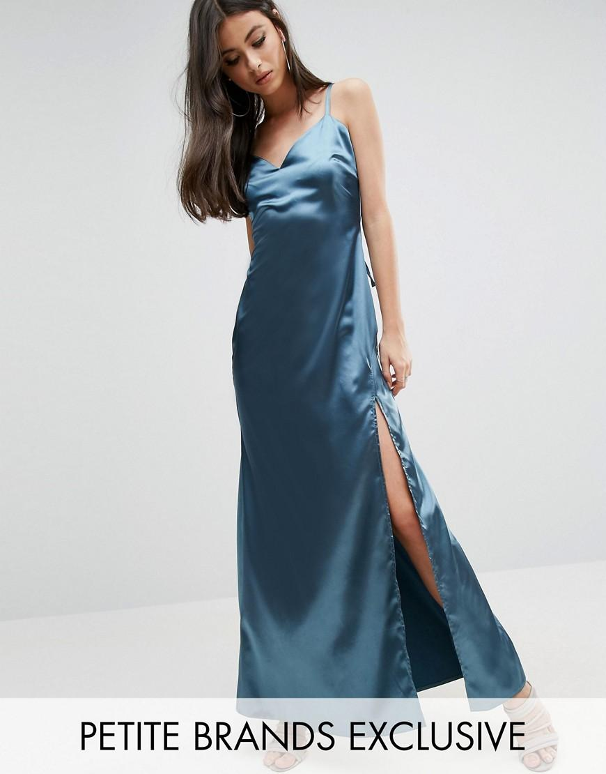 John Zack Plunge Front Thigh Split Cami Satin Maxi Dress ...