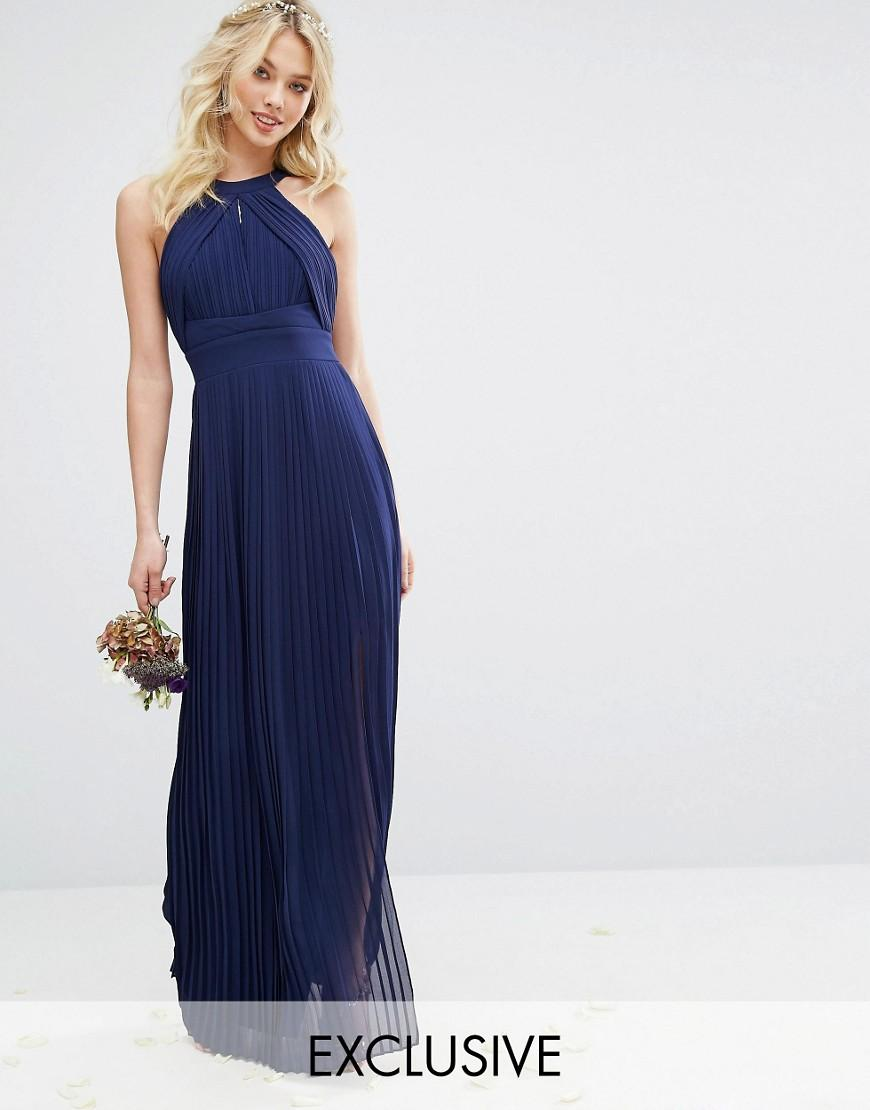 Tfnc london wedding pleated maxi dress in blue lyst for Navy maxi dresses for weddings